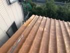 三宅町でオレンジ色の瓦の修繕作業