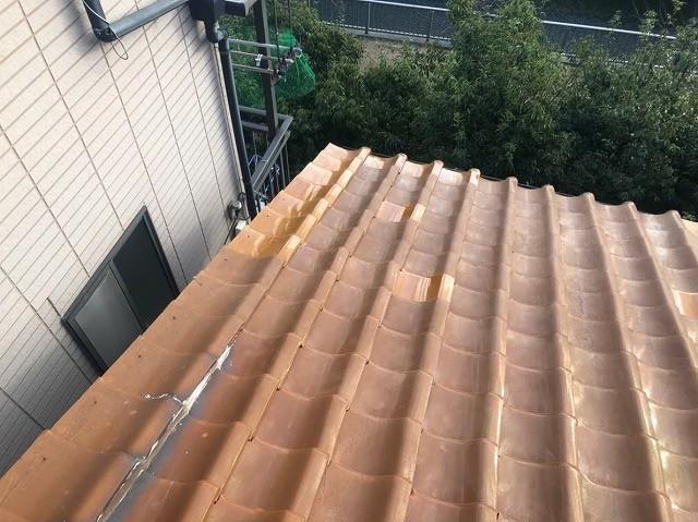 三宅町で台風被害に遭った瓦屋根の補修作業終了