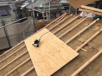 垂木と新しい野地板設置
