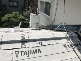 香芝市 下屋根 防水紙設置